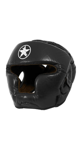 Leather/Suede Boxing Headgear with Chin Guard