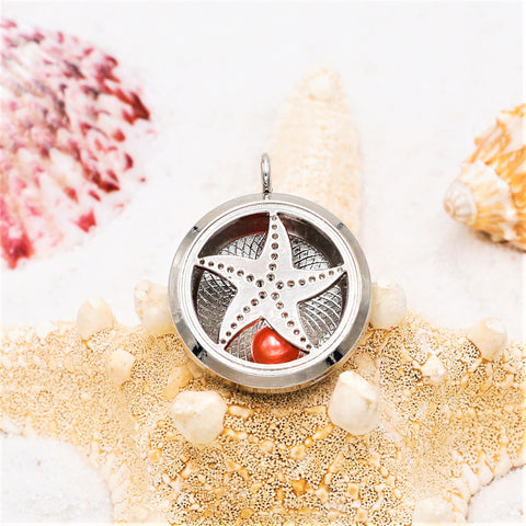 Starfish Silver Plated Pearl Locket