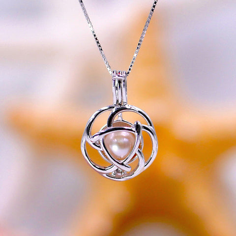 Blooming Flower Sterling Silver Cage Pendant