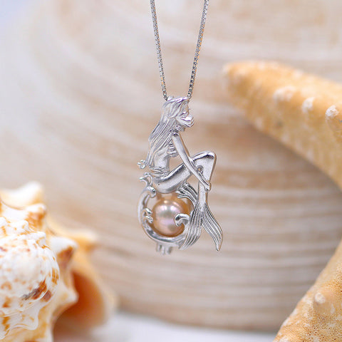 Enchanted Mermaid Sterling Silver Cage Pendant