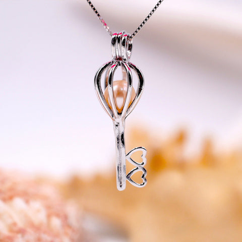 Key to My Heart Sterling Silver Cage Pendant