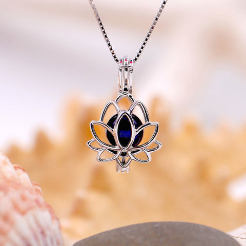Lotus Flower Sterling Silver Cage Pendant