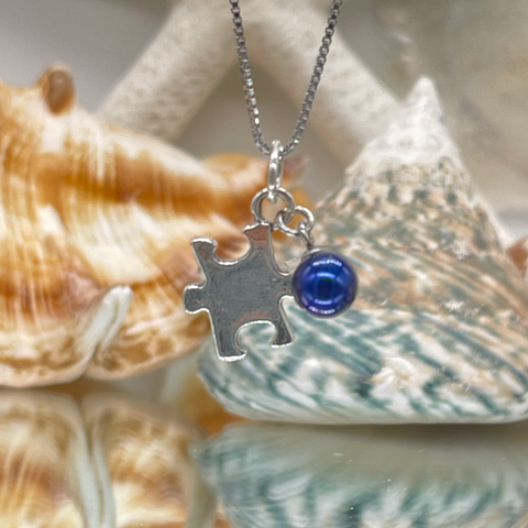 Sterling Silver Autism Puzzle Piece with Dark Blue Pearl (Limited Availability)