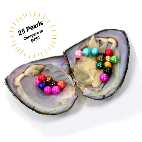 Mini Monster Oyster - 25 random colored freshwater pearls