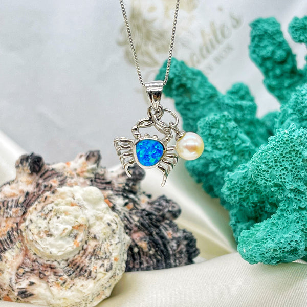 Walking Along Blue Opal Sterling Silver Crab Pendant