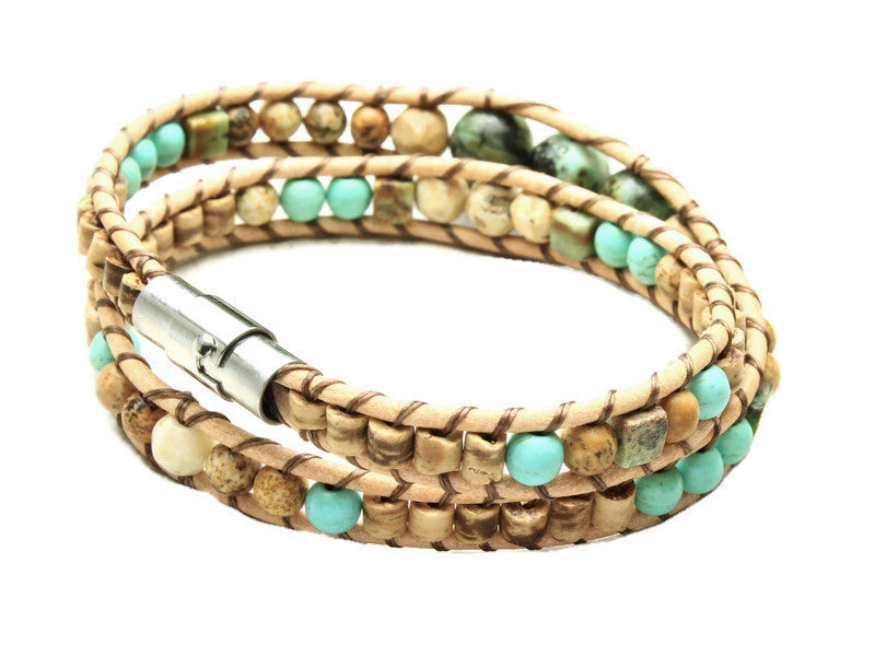 African Turquoise Collection - Double Wrap Bracelet - Woven Stone Co.