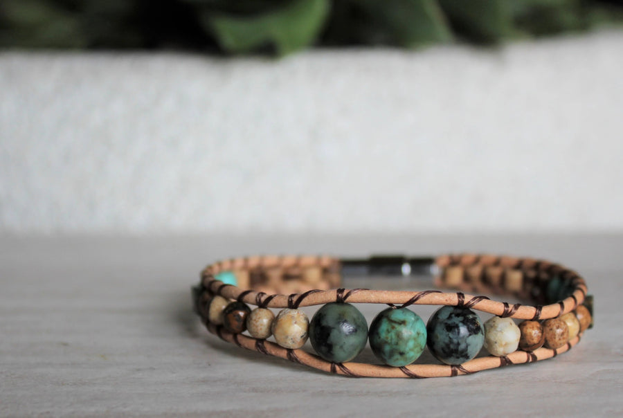 African Turquoise Collection - Single Wrap Bracelet - Woven Stone Co.