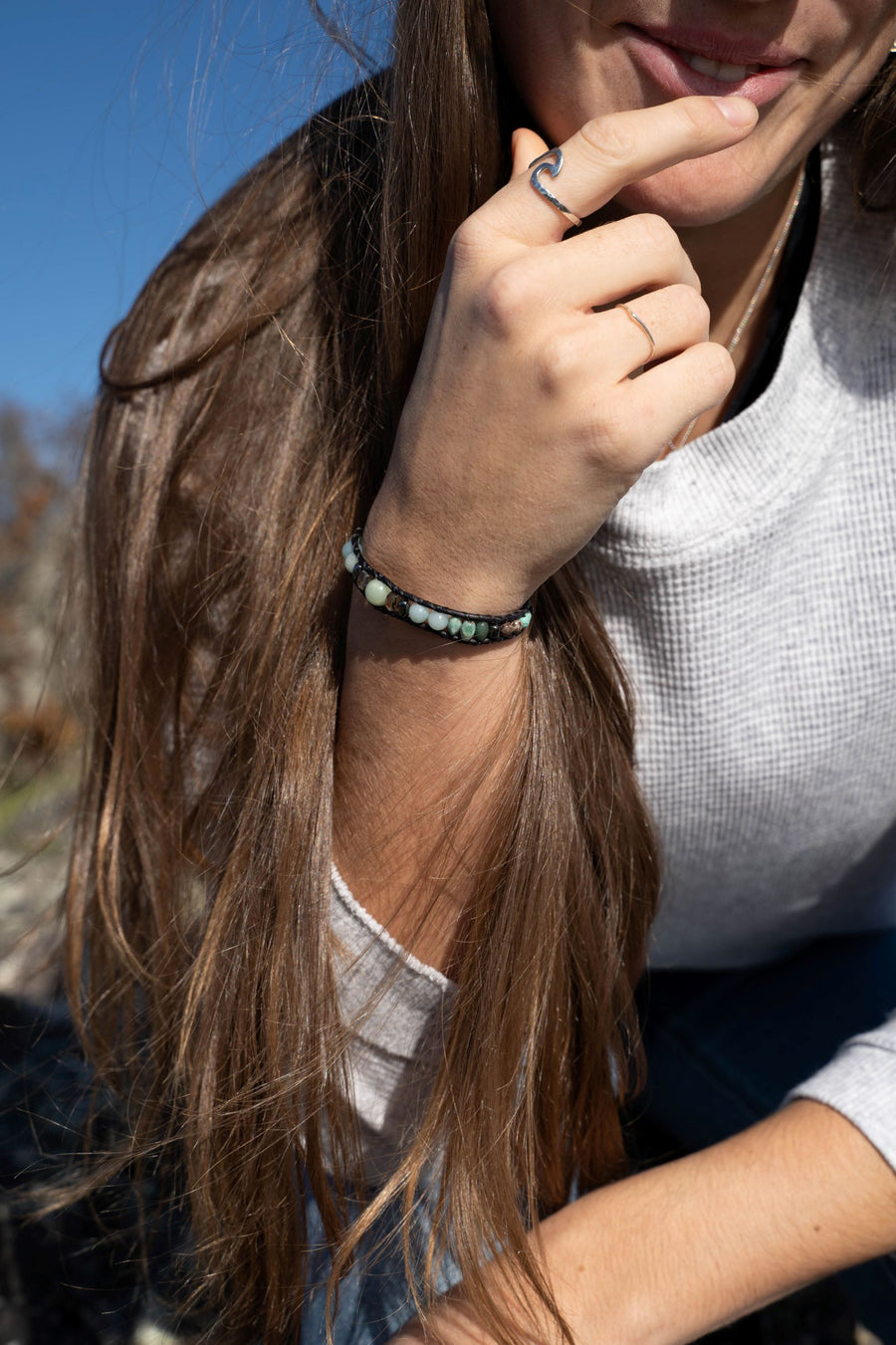 Amazonite Collection - Single Wrap Bracelet - Woven Stone Co.