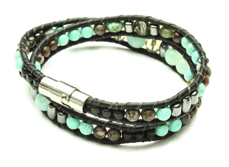 Amazonite Collection - Double Wrap Bracelet - Woven Stone Co.