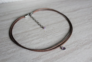 Delicate Grey Leather + Amethyst Necklace