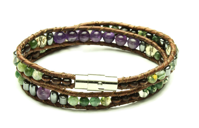 Amethyst Collection - Double Wrap Bracelet - Woven Stone Co.
