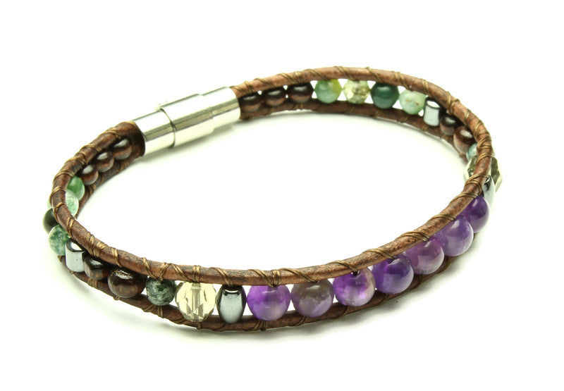 Amethyst Collection - Single Wrap Bracelet - Woven Stone Co.