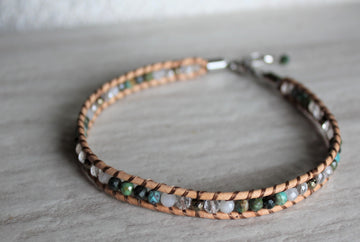 Beige Leather + Chrysocolla Anklet