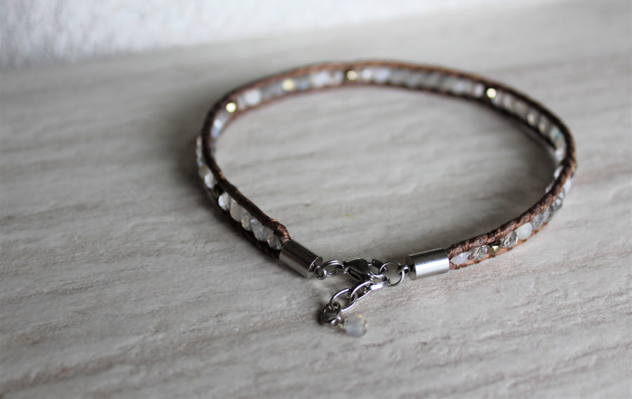Grey Leather + Labradorite Anklet