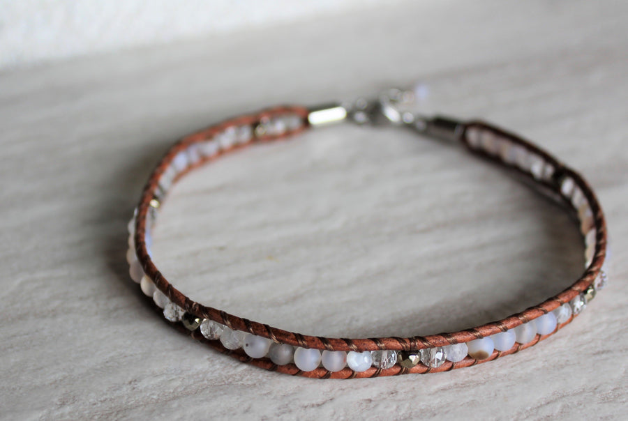 Tan Leather + Montana Agate Anklet