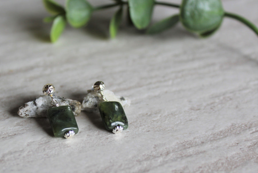 Earrings Limited Edition - BC Jade Rectangle Studs