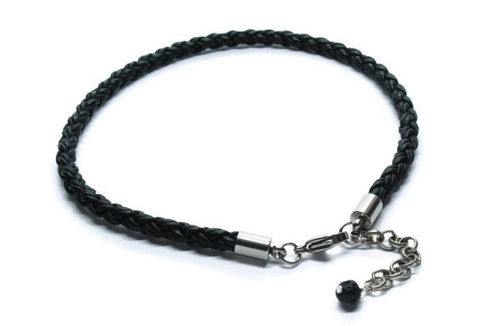 Black Leather Anklet - Woven Stone Co.