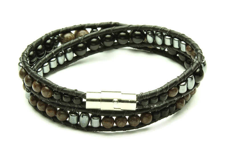 Black Onyx Collection - Double Wrap Bracelet - Woven Stone Co.