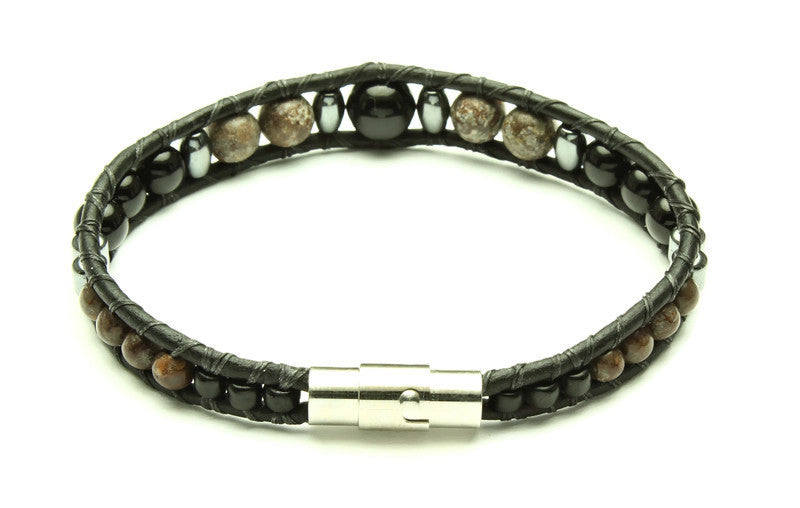 Black Onyx Collection - Single Wrap Bracelet - Woven Stone Co.
