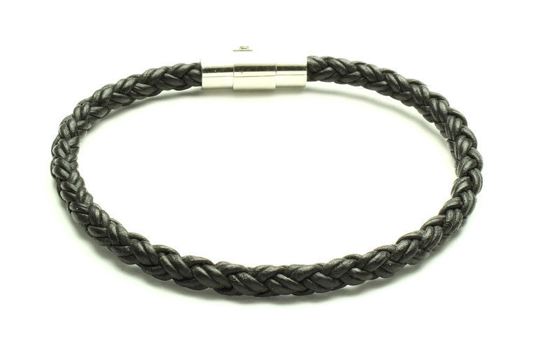 Black Leather Bracelet - Woven Stone Co.