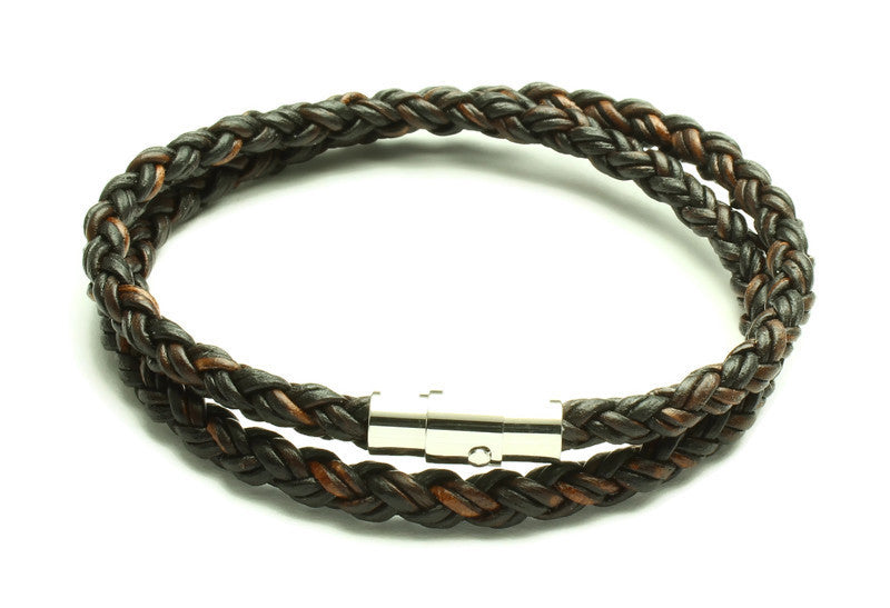 Antique Brown Leather Double Wrap Bracelet - Woven Stone Co.