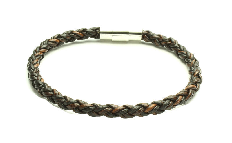 Antique Brown Leather Bracelet - Woven Stone Co.
