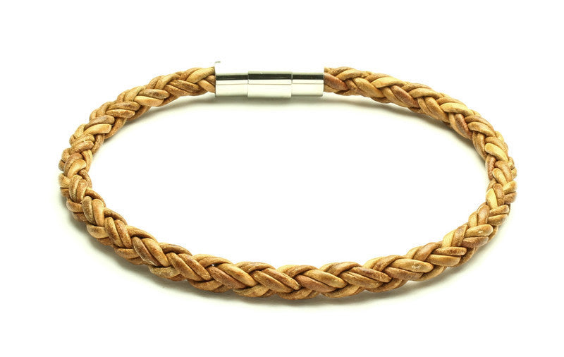 Tan Leather Bracelet - Woven Stone Co.