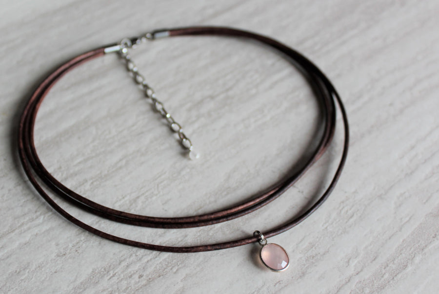 Antique Brown Leather + Rose Quartz Necklace - Woven Stone Co.