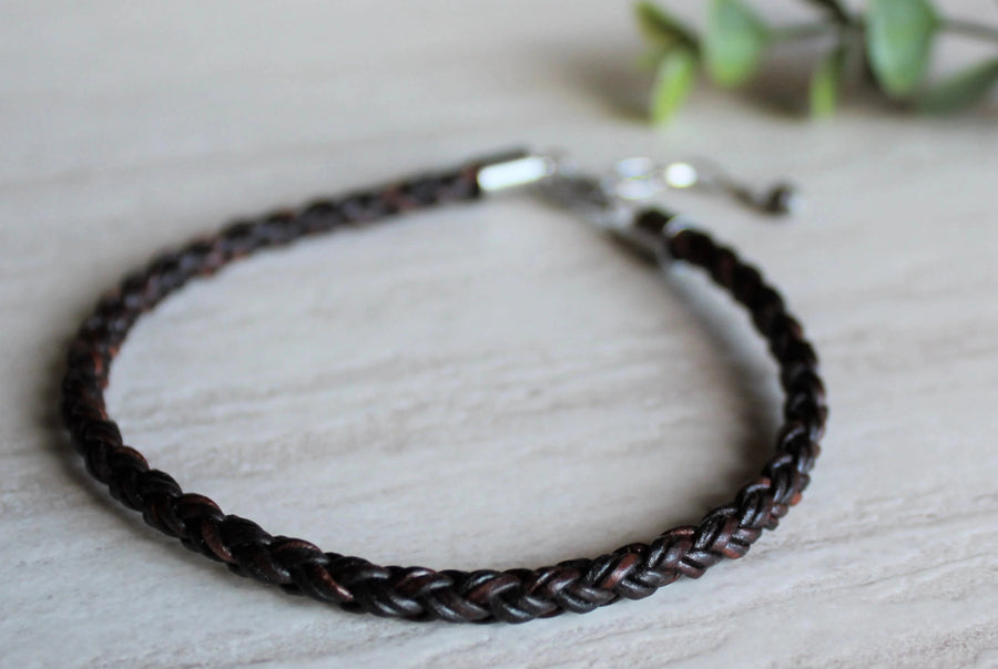 Antique Brown Leather Anklet - Woven Stone Co.