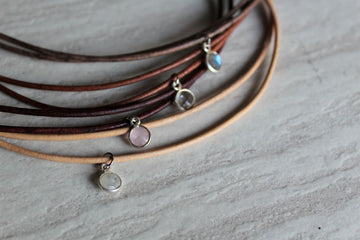 Customizable Delicate Leather + Gemstone Necklace
