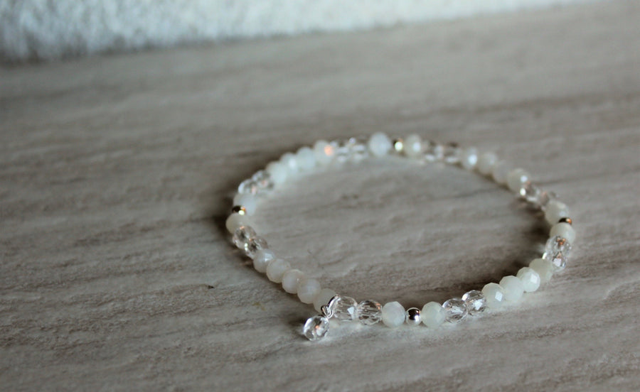 Rose Quartz + Moonstone Stacker Set