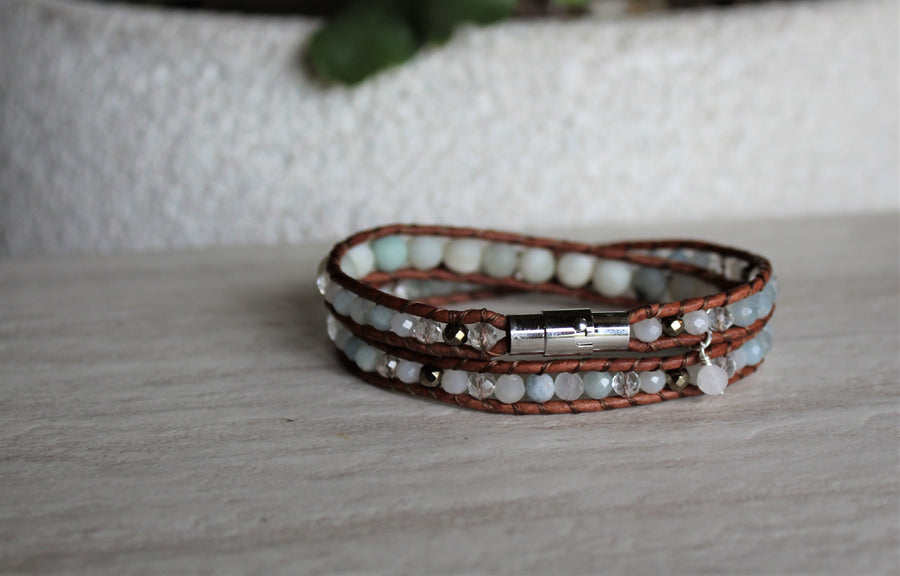 Double Wrap Bracelet - Flower Amazonite