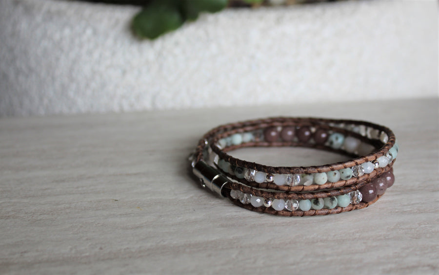 Double Wrap Bracelet - Purple Aventurine