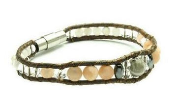 Fossil Coral - Crystal + Stone Bracelet - Woven Stone Co.
