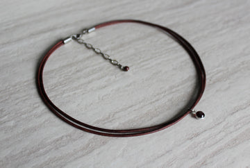 Delicate Antique Brown Leather + Garnet Necklace