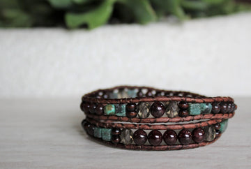 Garnet Collection - Double Wrap Bracelet - Woven Stone Co.