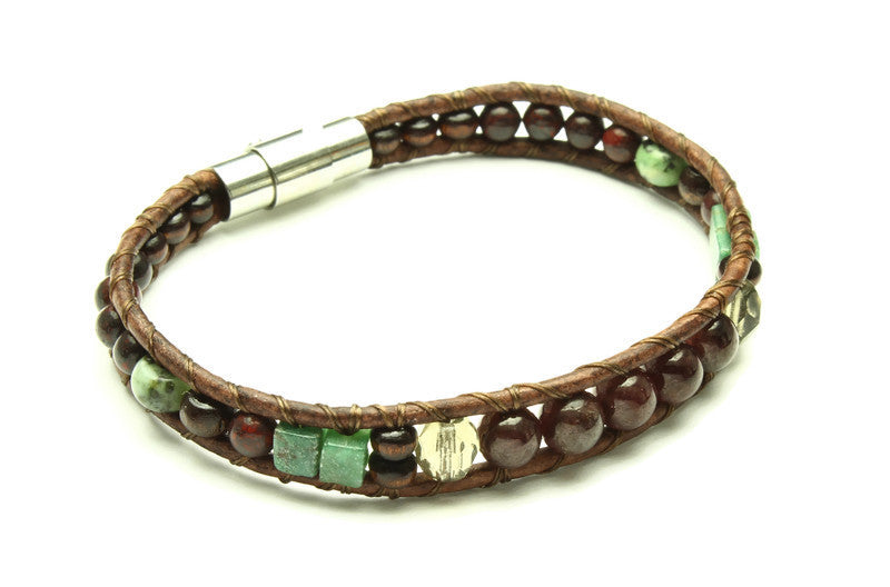 Garnet Collection - Single Wrap Bracelet - Woven Stone Co.