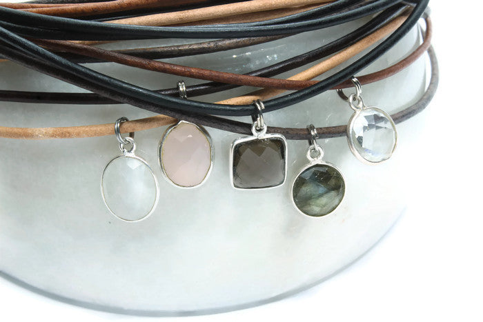 Black Leather + Smokey Quartz Necklace - Woven Stone Co.