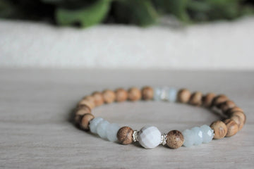 Wood Stacker - Aquamarine + Howlite - Woven Stone Co.