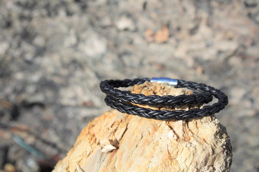 Black Leather Double Wrap Bracelet - Woven Stone Co.