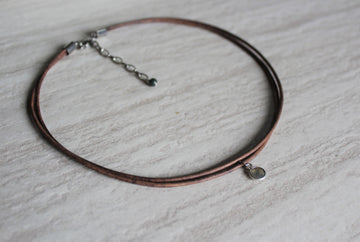 Delicate Grey Leather + Labradorite Necklace