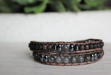 Labradorite Collection - Double Wrap Bracelet - Woven Stone Co.