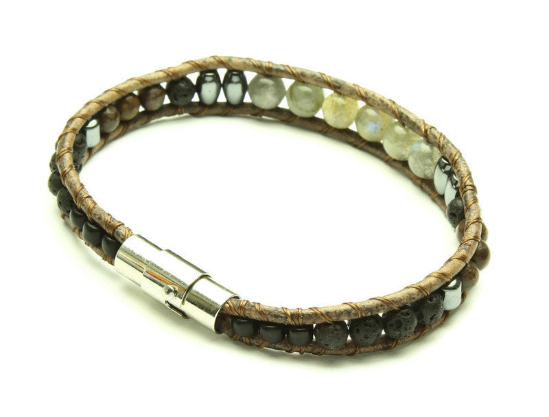 Labradorite Collection - Single Wrap Bracelet - Woven Stone Co.