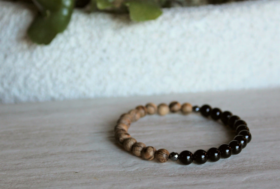 Black Onyx + Lava Stone Stacker Set