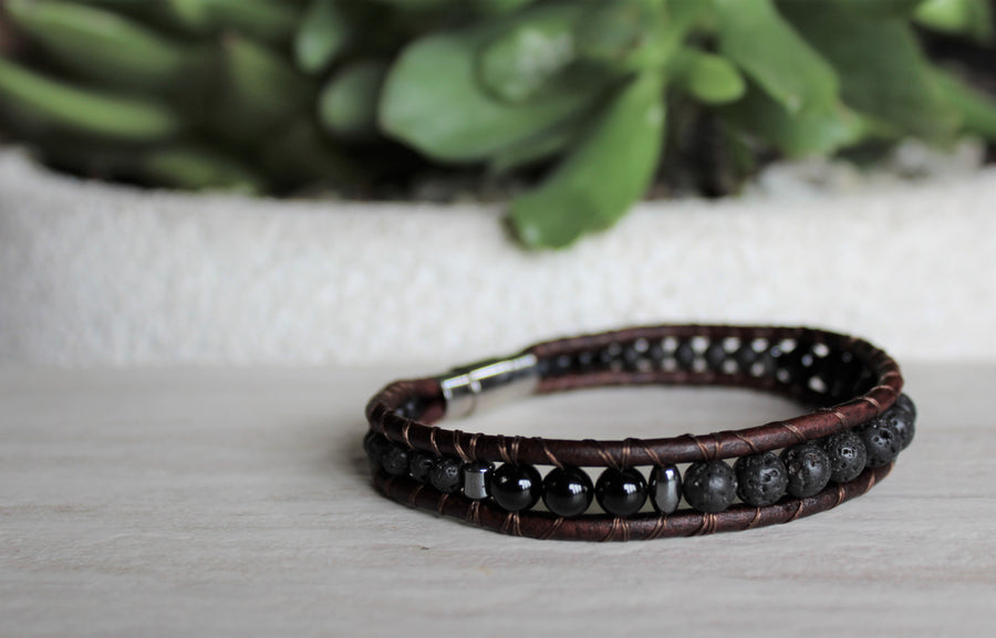 Mens Lava Rock Bracelet - Brown Leather
