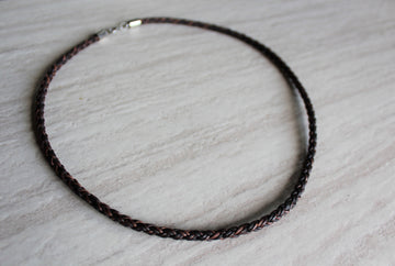 Mens Antique Brown Leather Necklace