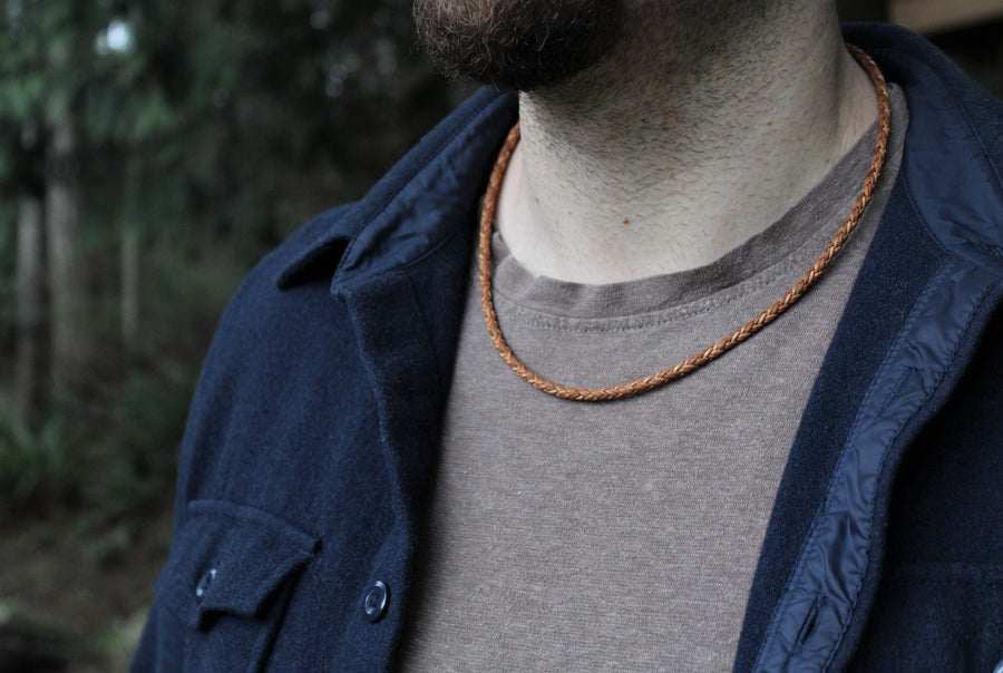 Mens Tan Leather Necklace