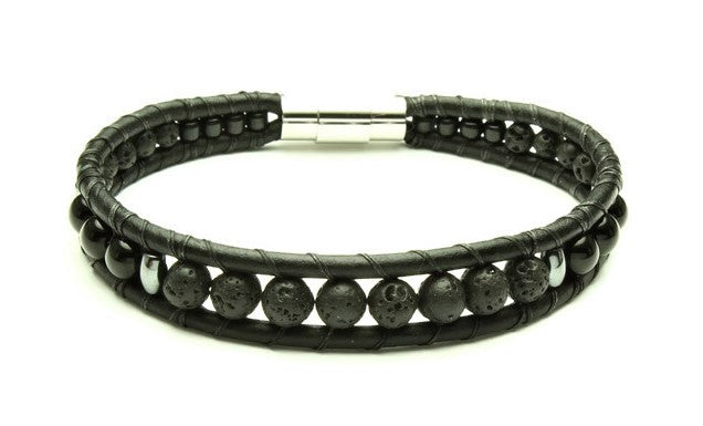 Mens Lava Rock Bracelet - Woven Stone Co.