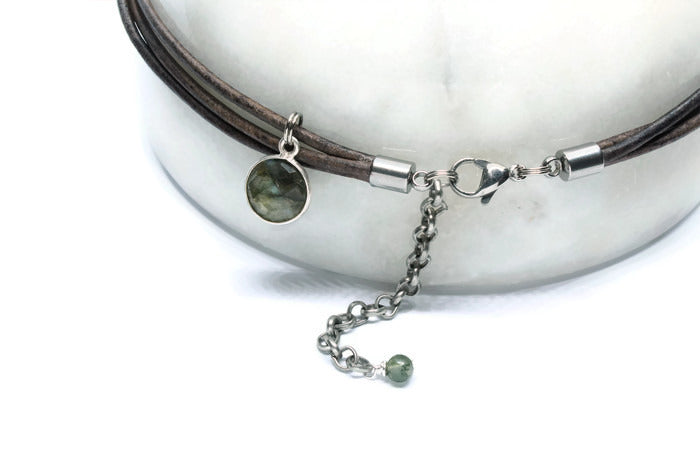 Grey Leather +  Labradorite Necklace - Woven Stone Co.