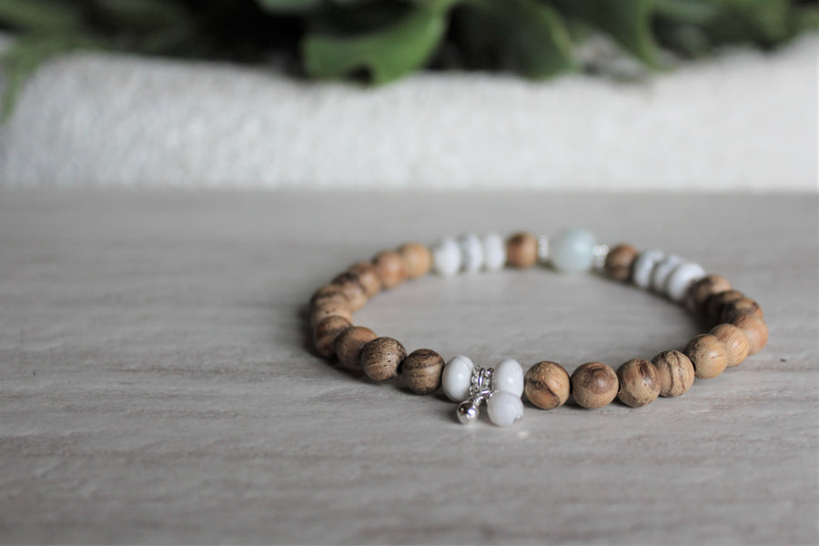 Wood Stacker - Howlite + Peruvian Amazonite - Woven Stone Co.